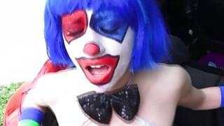 Hard fucking a sexy clown along the way