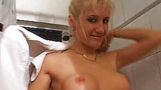 Busty amateur girlfriend sucks and fucks in the ba