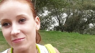 Petite Czech girl pounded by horny men in the woods for cash