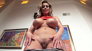 Busty blonde MILF finds a dick to suck