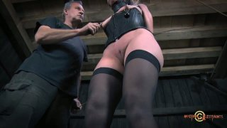 BDSM treatment in the barnyard with curvy white chick