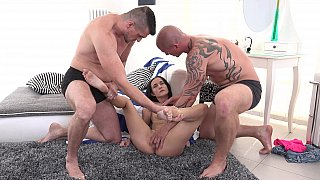 Girl gets fucked hard by two guys