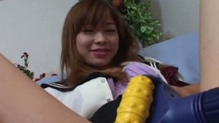 Pervert dude stimulates hairy pussy of Japanese cutie Ami Hyuuga with sex toys