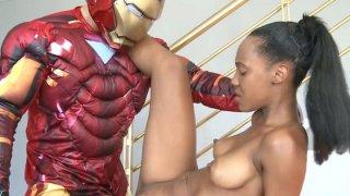 Iron man came to fuck black whore Noe Milk