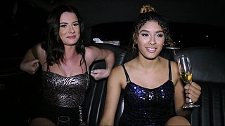 Limo ride before NYE sex party