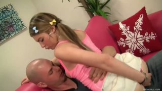 Clown face Callie LaVallee gives a stout blowjob to Ralph Long's dick