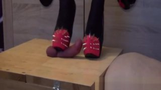 Shoejob cockbox trampling with spiked heels