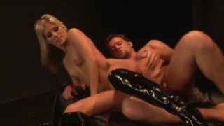 Skinny blonde babe Courtney Simpson with tight shaved pussy riding men