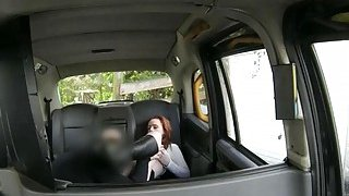 Red haired woman puss licked and railed by horny driver