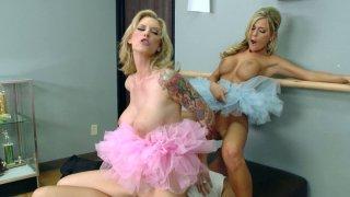 Busty ballerinas Brooke Banner & McKenzee Miles play with big cock