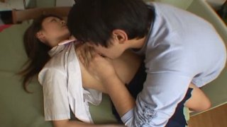 Barely legal student chick Maki Ishizaka is molested by her coed