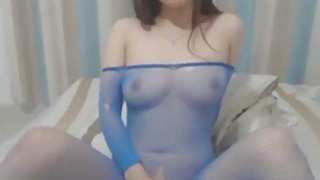Hairy Asian In Fishnet Stockings Pounds Pussy