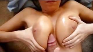 Cumming on her Big Milf Tits