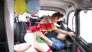 Amateur teen clown bangs in fake taxi