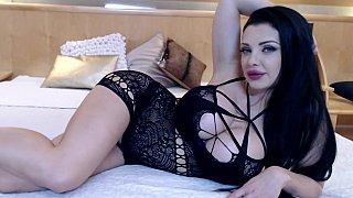 Black-haired webcam girl in hot lingerie