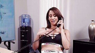 Lesbian fingering sex in phone call company