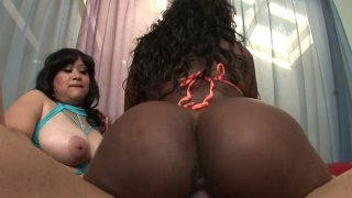 Apple bottom Mz.Twilight & Toni Sweets starring in interracial threesome fuck and banging hard